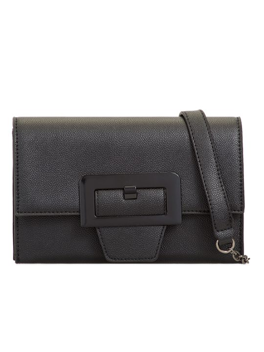 Black retro clutch bag - front view