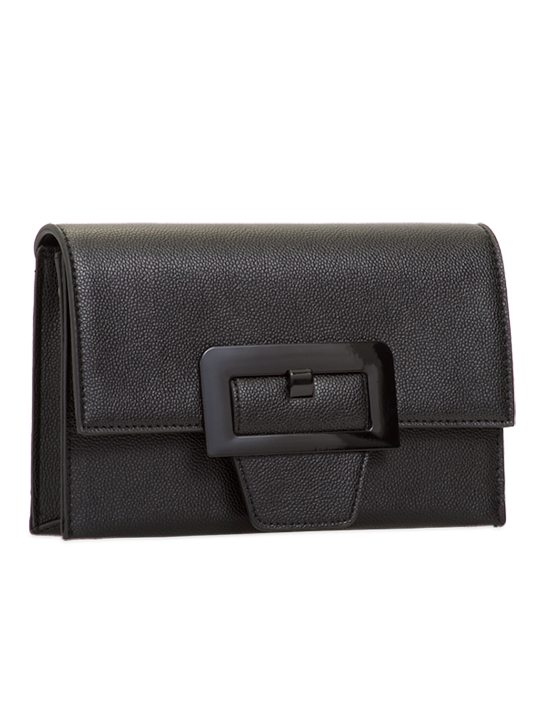 Black retro clutch bag side view