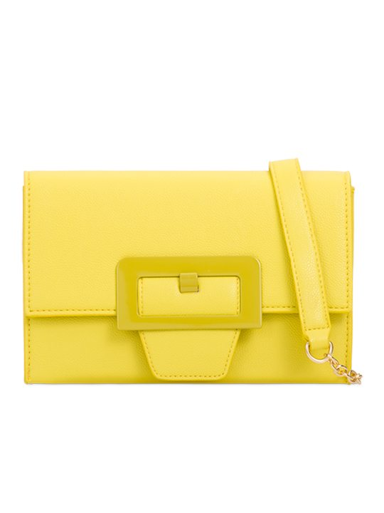 Yellow retro clutch bag front view