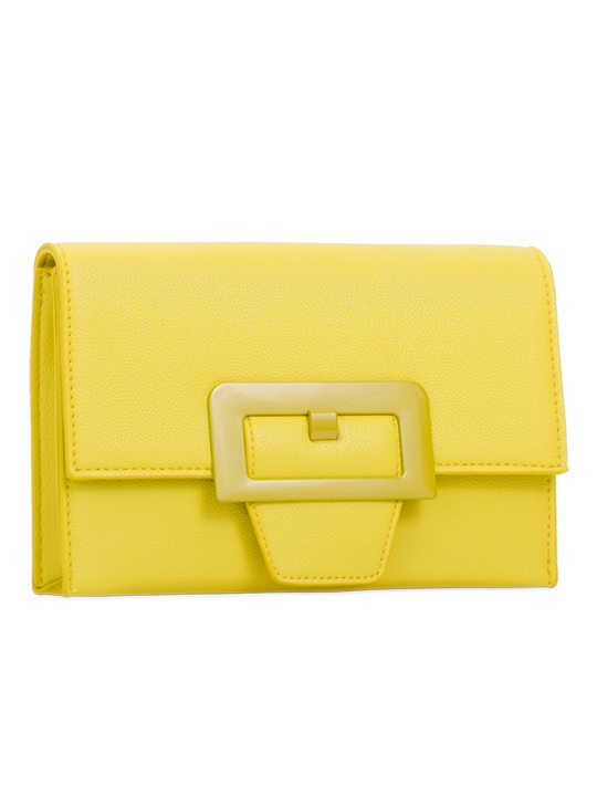 Yellow retro clutch bag side view