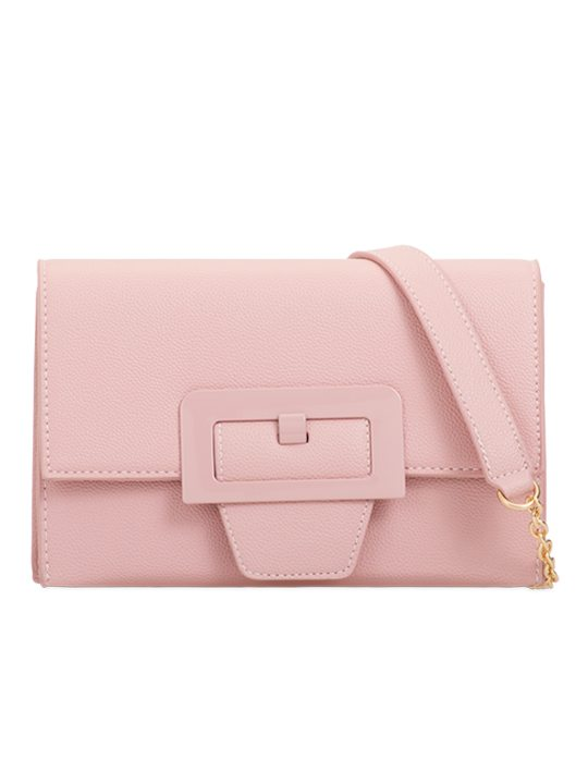 Pink retro clutch bag front view