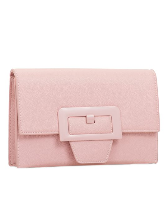 Pink retro clutch bag side view