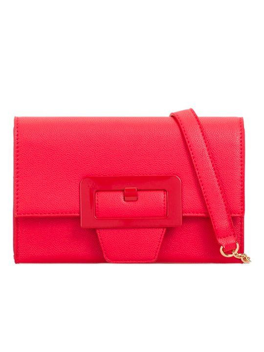 Red retro clutch bag - front view