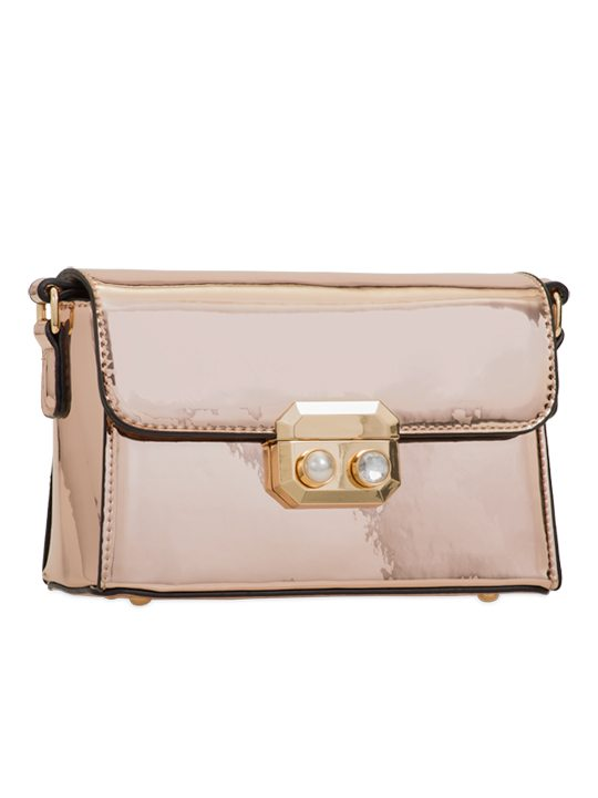 Champagne PU Leather Bag side view