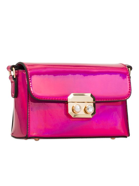 Fuchsia PU Leather Bag side view