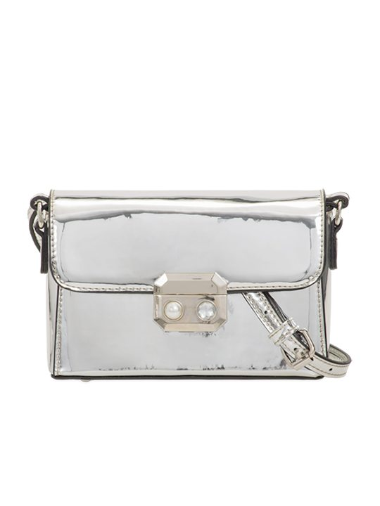 Silver PU Leather Bag front view