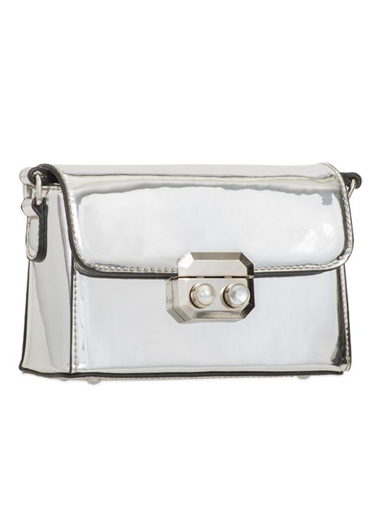 Silver PU Leather Bag side view