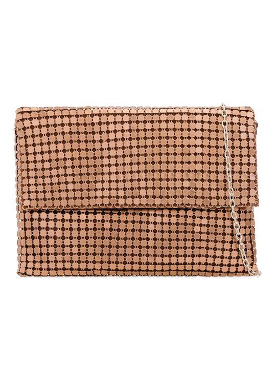 bronze sequin clutch bag