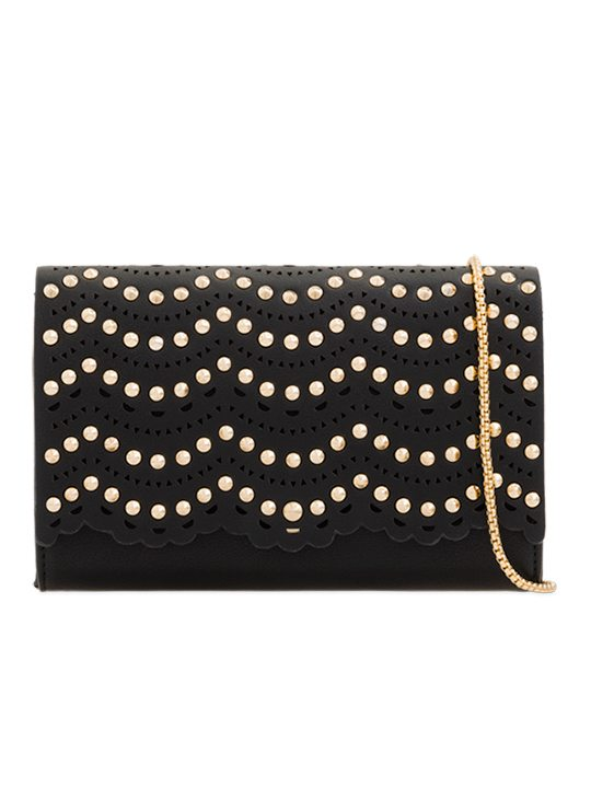 black Studded Clutch Bag