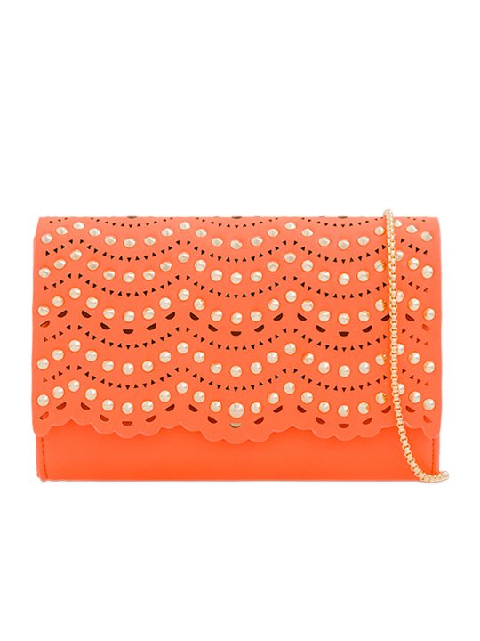 Orange Studded Clutch Bag