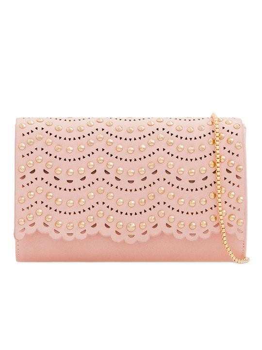 Pink Studded Clutch Bag