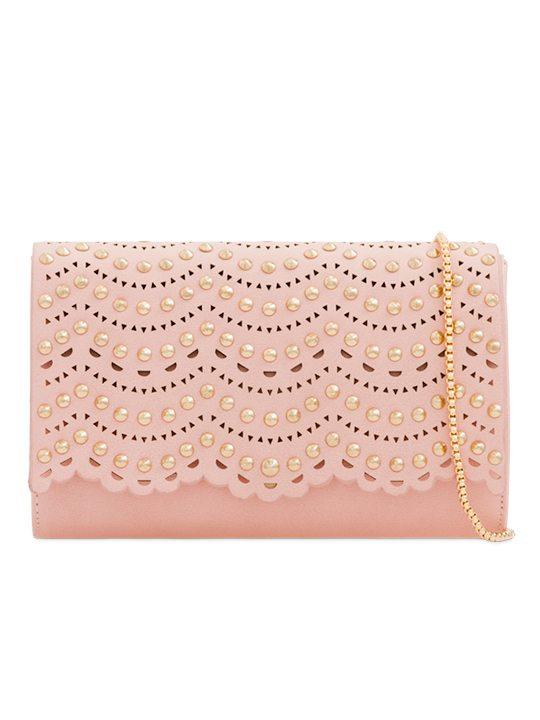 Pink Studded Clutch Bag