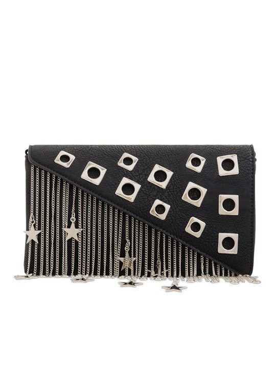 Black Metal Fringe Shoulder Bag