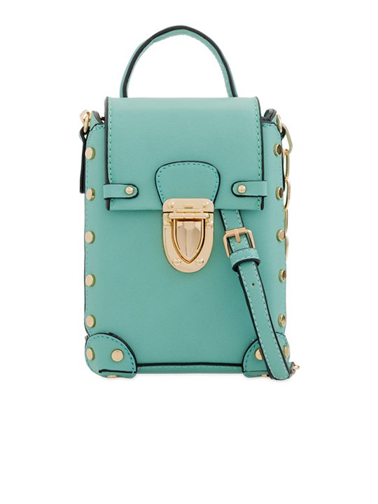 Green Studded Shoulder Bag