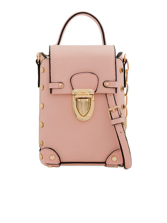 Pink Studded Shoulder Bag