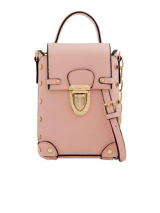 Pink Studded Shoulder Bag