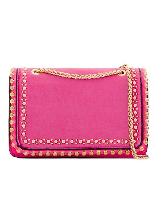 Coral Velvet Shoulder Bag