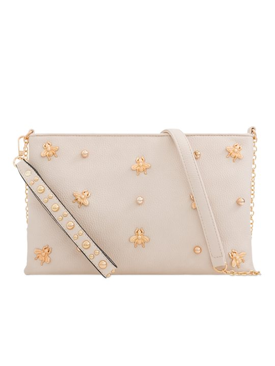 Beige Embellished Shoulder Bag