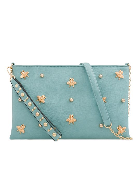 Blue Embellished Shoulder Bag