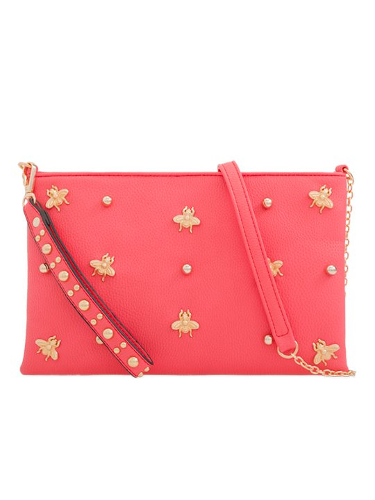 Coral Embellished Shoulder Bag