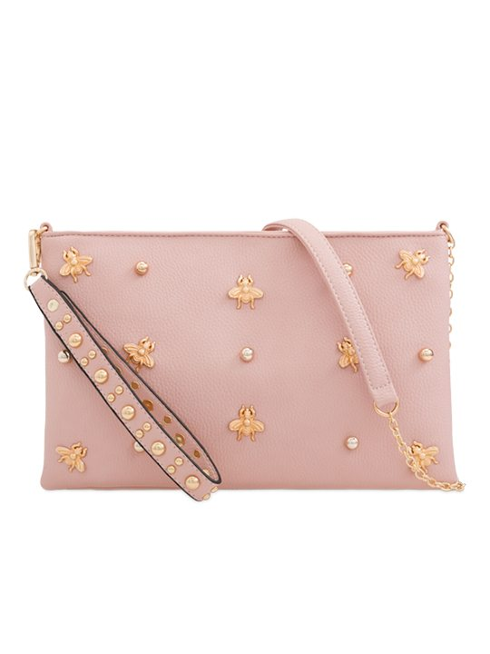 Pink Embellished Shoulder Bag
