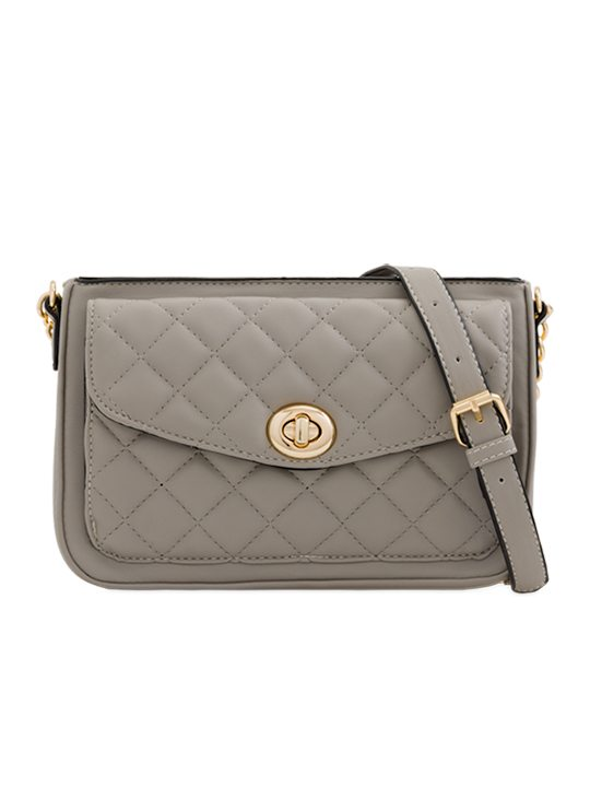 Grey Quilted Shoulder Bag