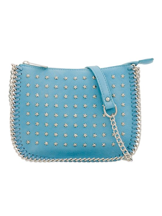 Blue Star Studded Shoulder Bag
