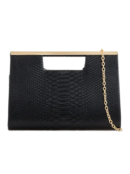Black Faux Snakeskin Clutch Bag