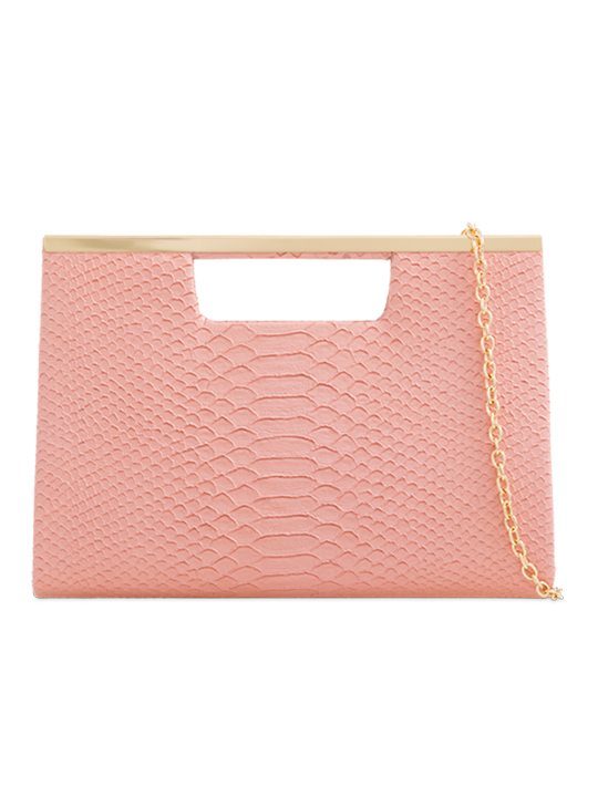 Blush Faux Snakeskin Clutch Bag