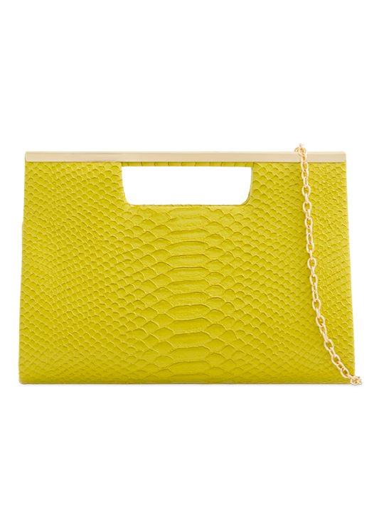 Yellow Faux Snakeskin Clutch Bag