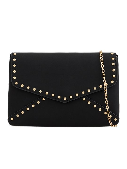 black Faux Suede Clutch Bag