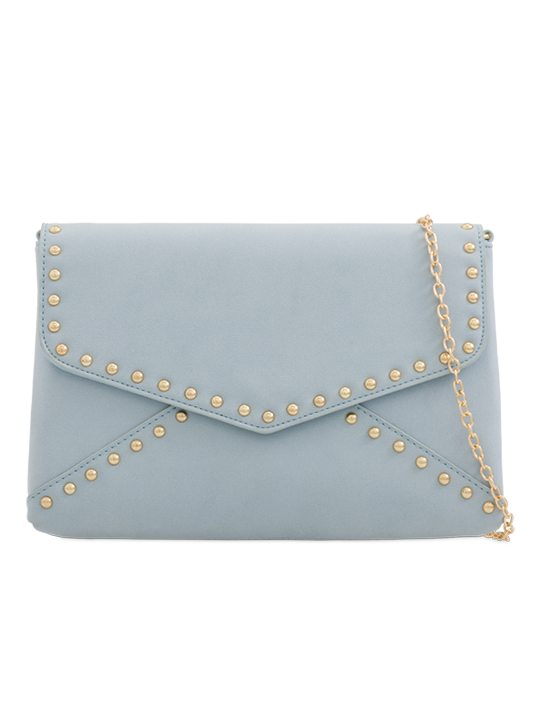 Blue Faux Suede Clutch Bag