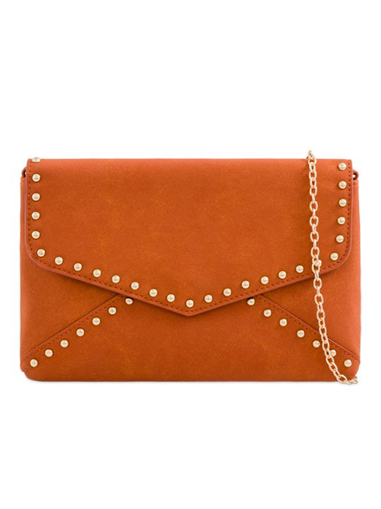 Orange Faux Suede Clutch Bag