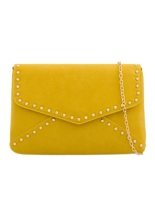 Yellow Faux Suede Clutch Bag