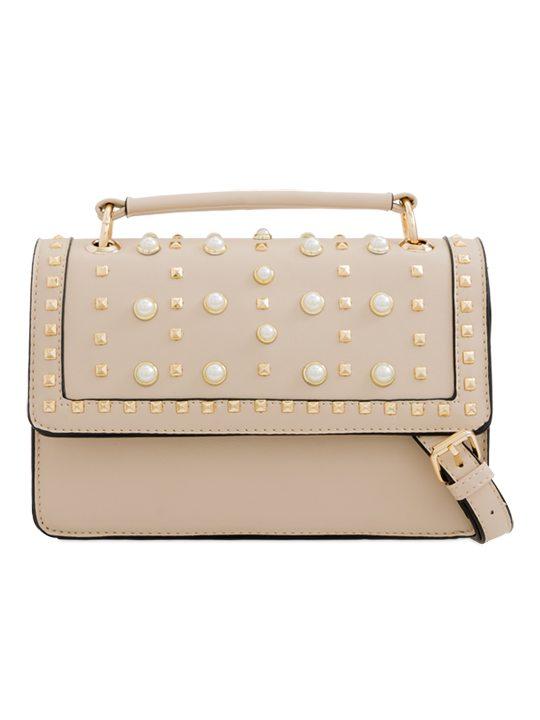 Beige Embellished Shoulder Bag