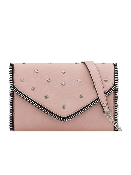 flesh studded clutch bag