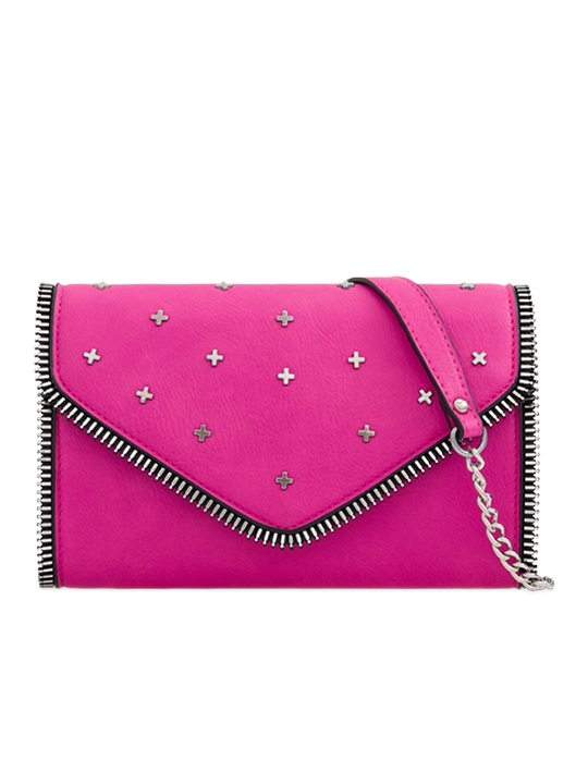 fuchsia studded clutch bag