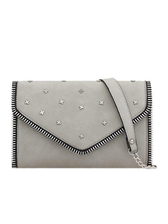 grey studded clutch bag