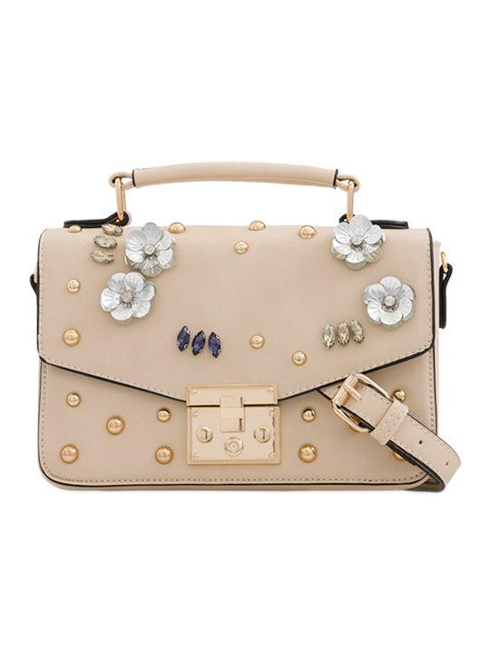 Beige Embellished Handbag