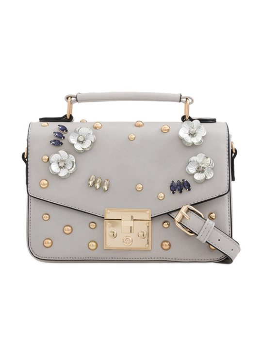 Grey Embellished Faux Leather Handbag