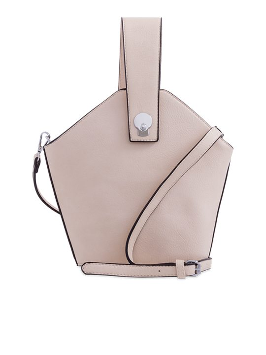 Beige Faux Leather Handbag