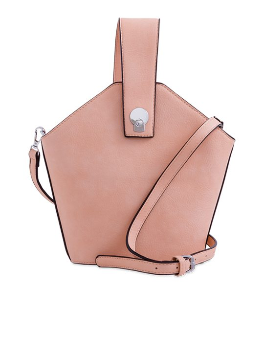 Pink Faux Leather Handbag