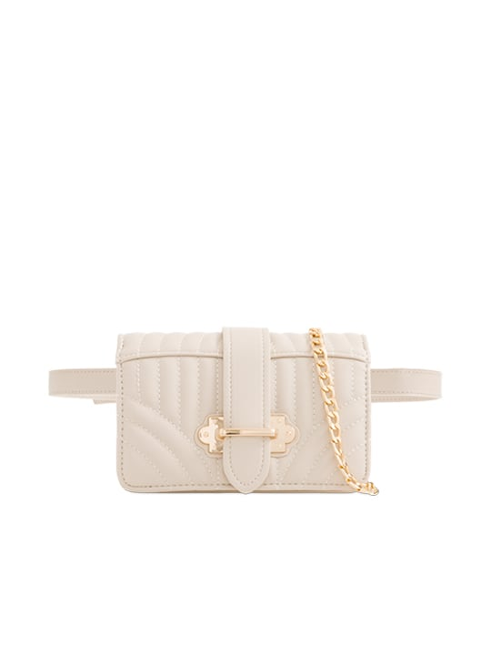 Apricot Quilted Faux Leather Bum Bag