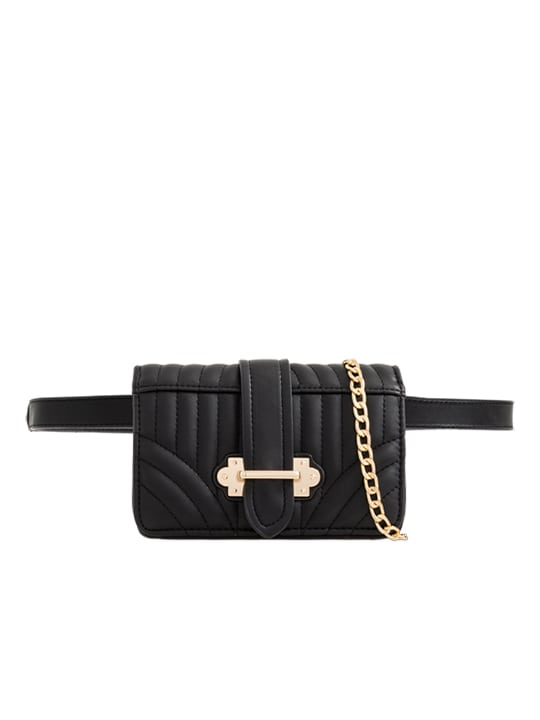 Black Quilted Faux Leather Bum Bag
