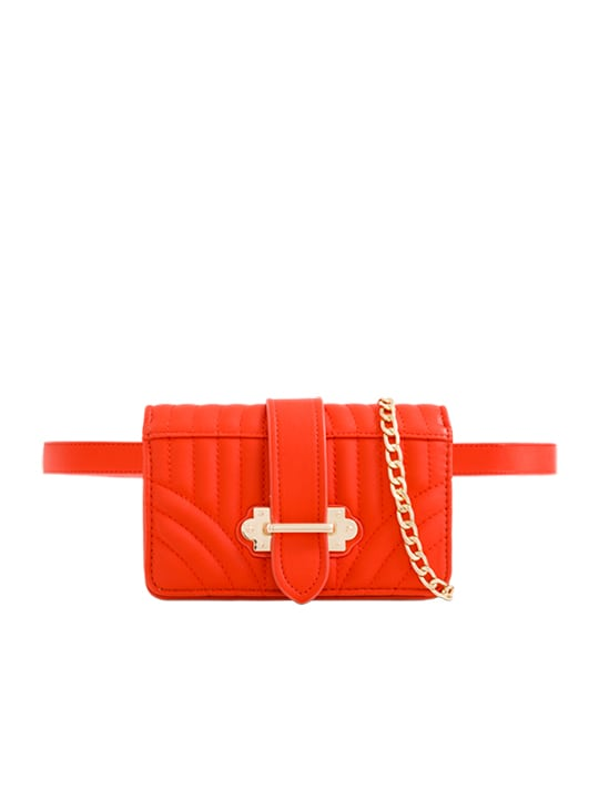 Orange Quilted Faux Leather Bum Bag
