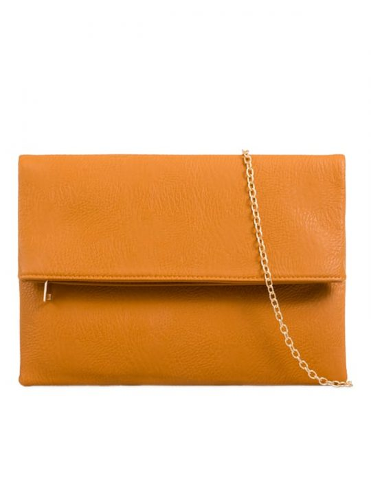 Brown Faux Leather Foldover Clutch Bag