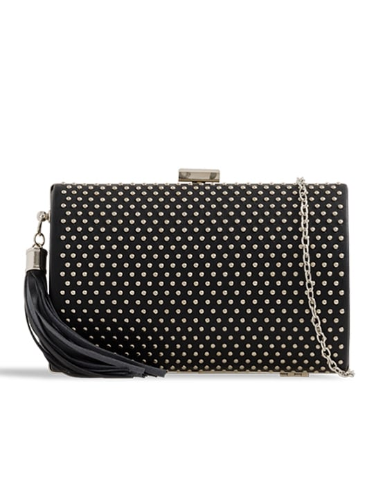 Black Studded Faux Leather Clutch