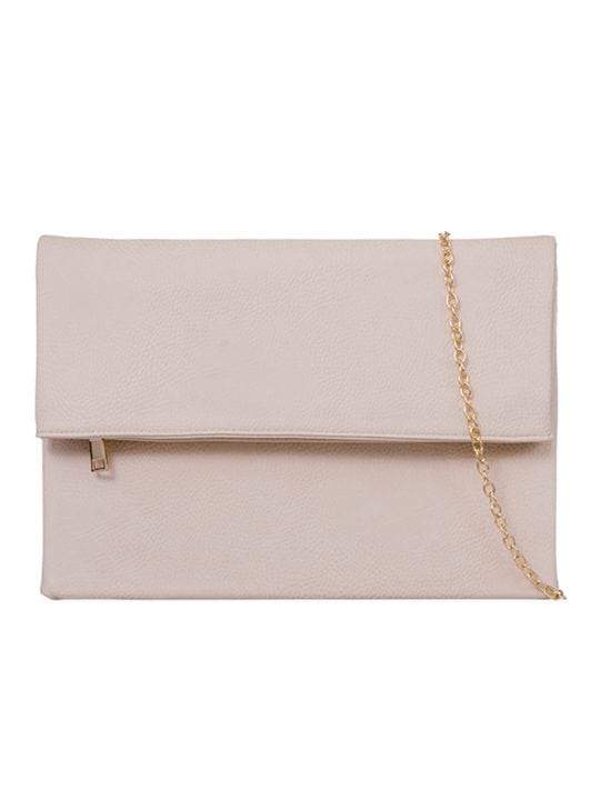 front of Beige Large Foldover Clutch Bag