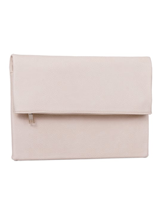 side of Beige Large Foldover Clutch Bag