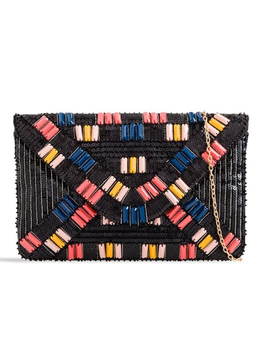 Black Embellished Sequin Clutch Bag